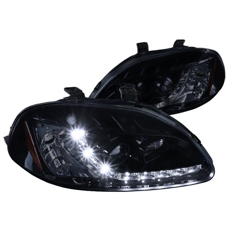 Spec-D Tuning Smoked For 1996-1998 Honda Civic Projector Headlights W/ R8 Style Led Glossy Black (Left + Right) 1996 1997 1998 1996 Honda Prelude Headlight