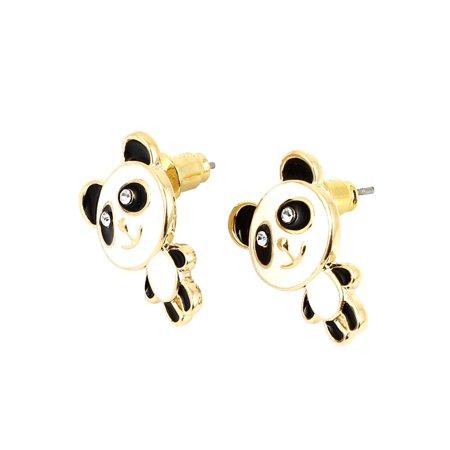 Lady Panda Shape Rhinestone Inlay Beauty Accessory Eardrop Ear Stud Earring (Ear Shape)