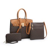 2020 New POPPY Handbags Set 3 in 1 Women's Top Handle Satchel Totes Handbag with Wallet Crossbody Shoulder Bag Ladies Purses Work Bag,Coffee & Brown