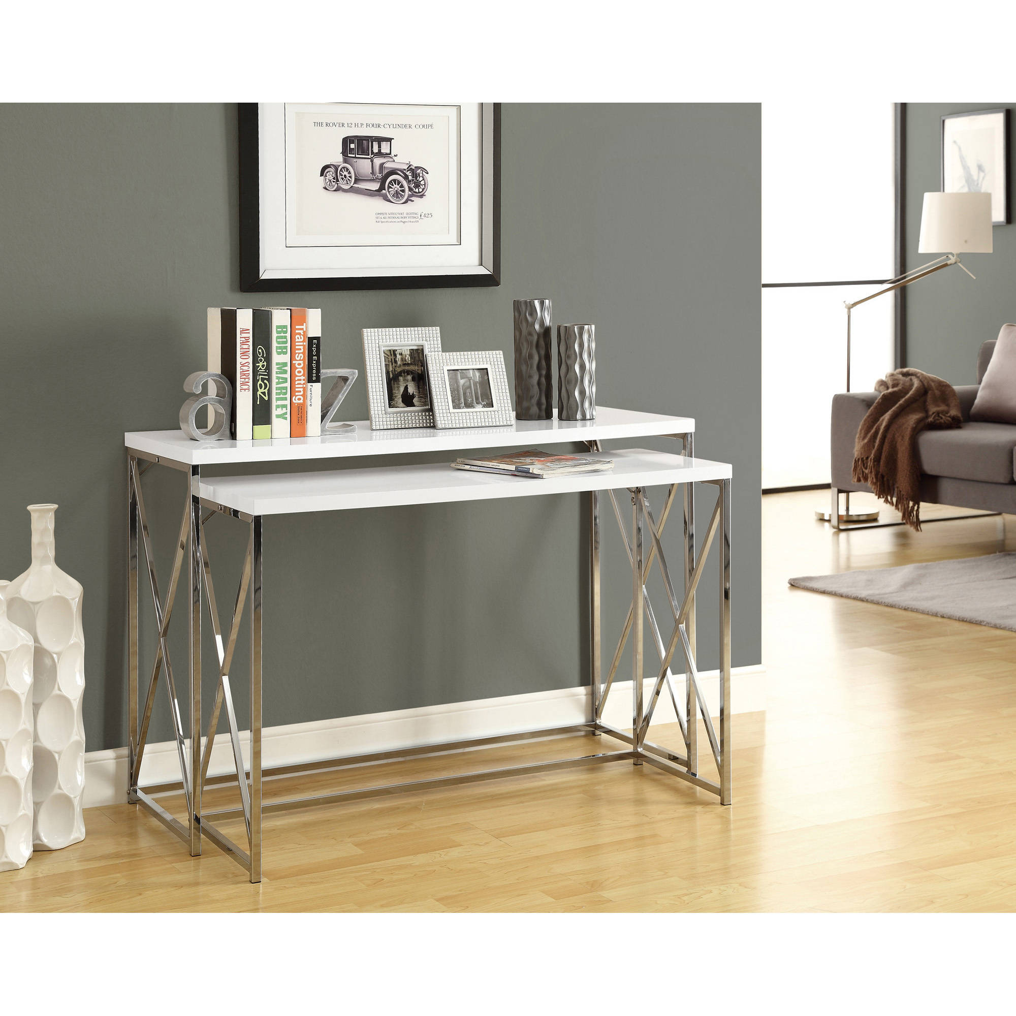 Monarch Console Table 2Pcs / Glossy White With Chrome Metal   Walmart.com