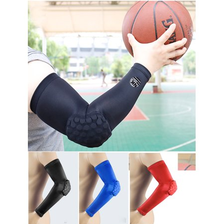 NK SUPPORT 1 Pair Honeycomb Crashproof Elbow Sleeve Pad - Protective Compression Arm Guard Sleeve Support for Basketball Football Volleyball Baseball Softball Outdoor Sports Black Size