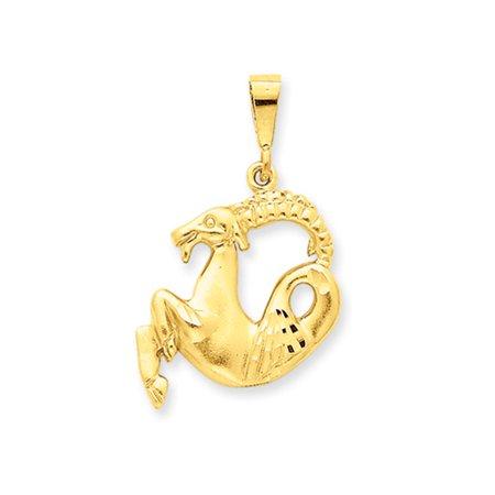 14K Yellow Gold Large Capricorn The Goat Zodiac Pendant