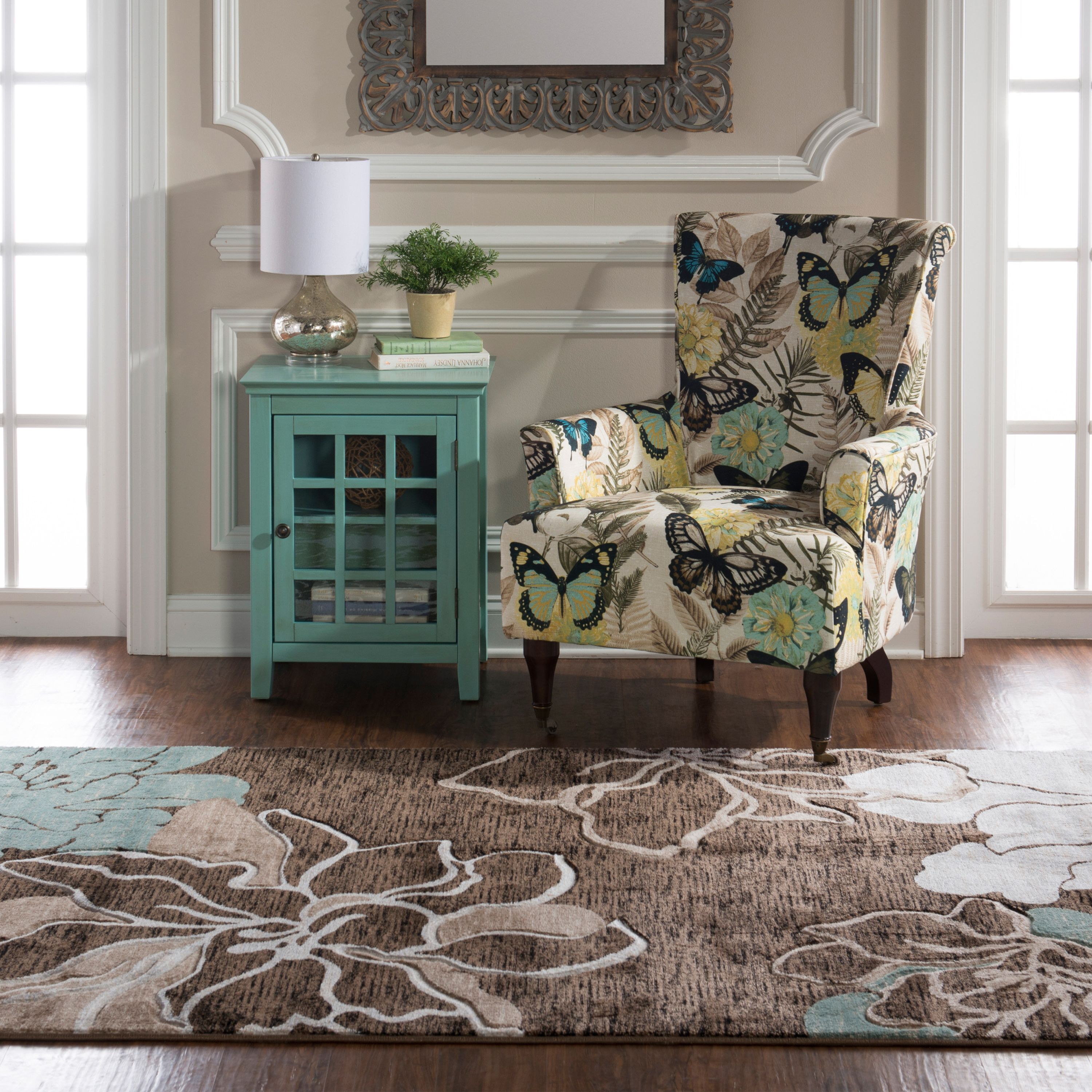 Milan Power Loomed Rug, Brown/Turquoise