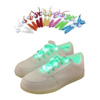 IClover Nylon Running Safety LED Shoelaces Luminous Flashing Rave Party Strap Shoe Laces for Halloween Party Dancing Running Cycling Hiking with 4 Flashing Modes Green