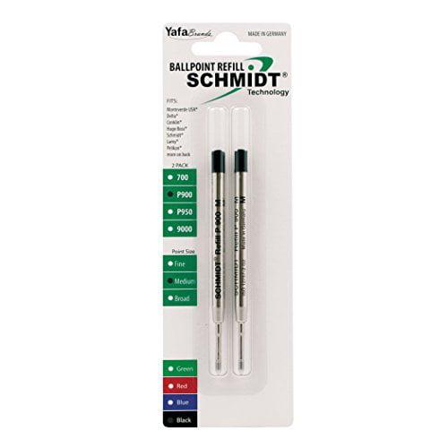 Schmidt P900 Parker Style Ballpoint Pen Refill Black, Medium Point 0.7mm, 2 Pack (SC58135) by