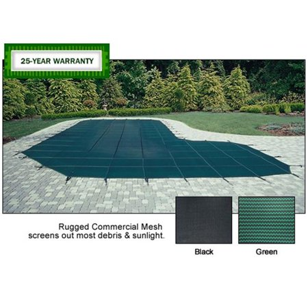 Arctic Armor WS9654 20 x 40 25 Year Commercial Mesh Safety Cover Green with Center Step Arctic Armor Green Mesh