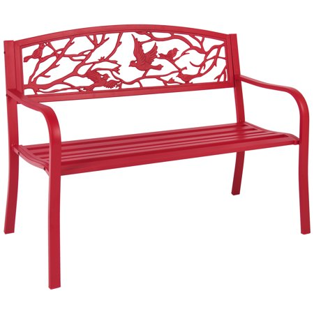Rose Red Steel Patio Garden Park Bench Outdoor Living Patio Furniture ()