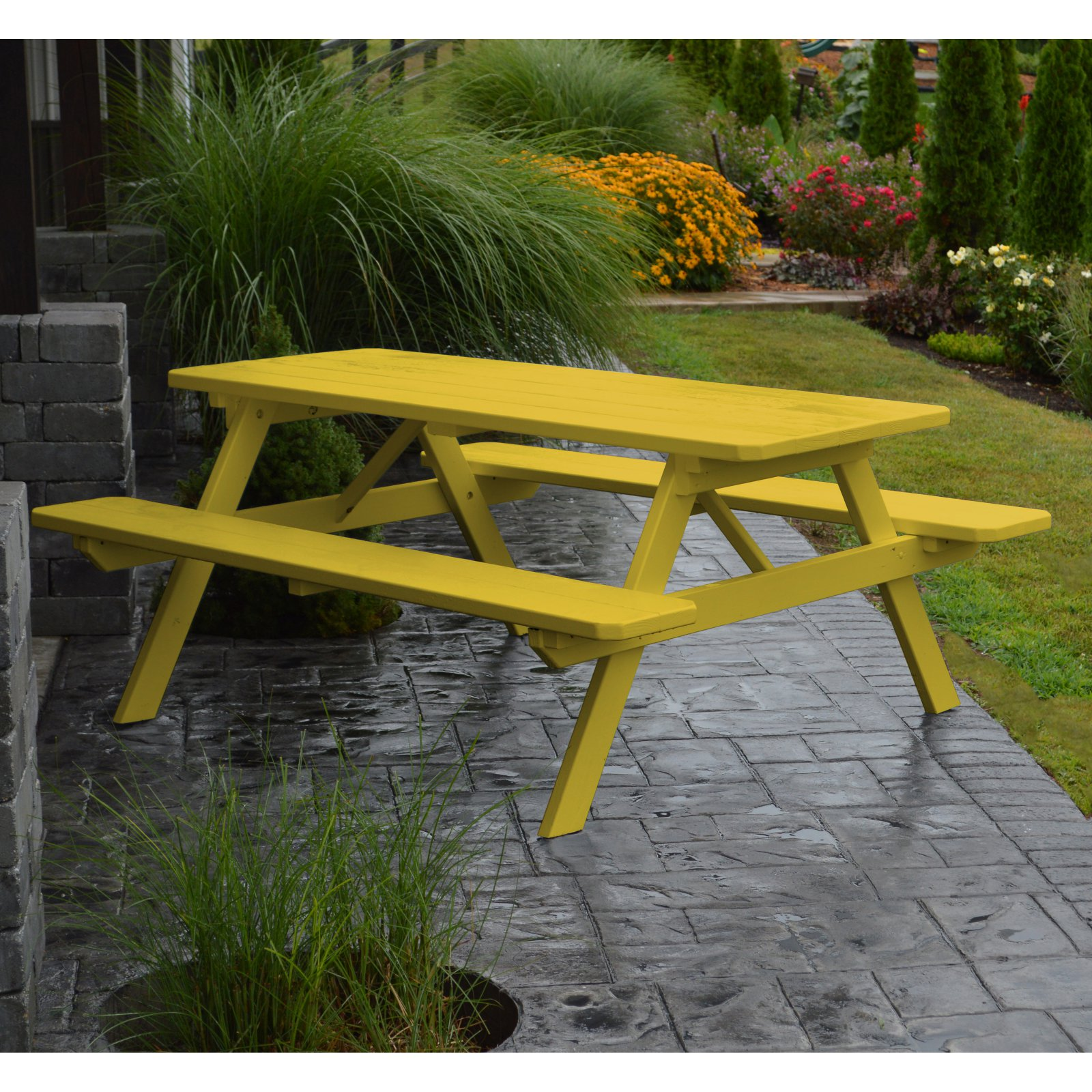A & L Furniture Yellow Pine Picnic Table with Attached Benches by A and L Furniture Co