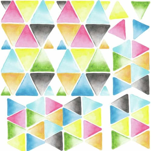 RoomMates RMK2857SCS Variable Sized - Watercolor Triangle - Self-Adhesive Repositionable Vinyl Wall Decal - Set of 76