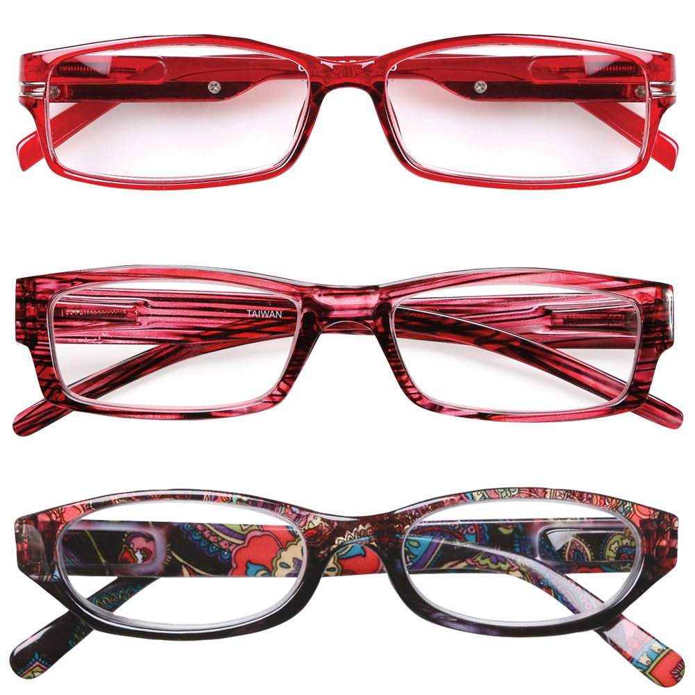 Women's Reading Glasses 6.0 Red - Variety Pack Of 3