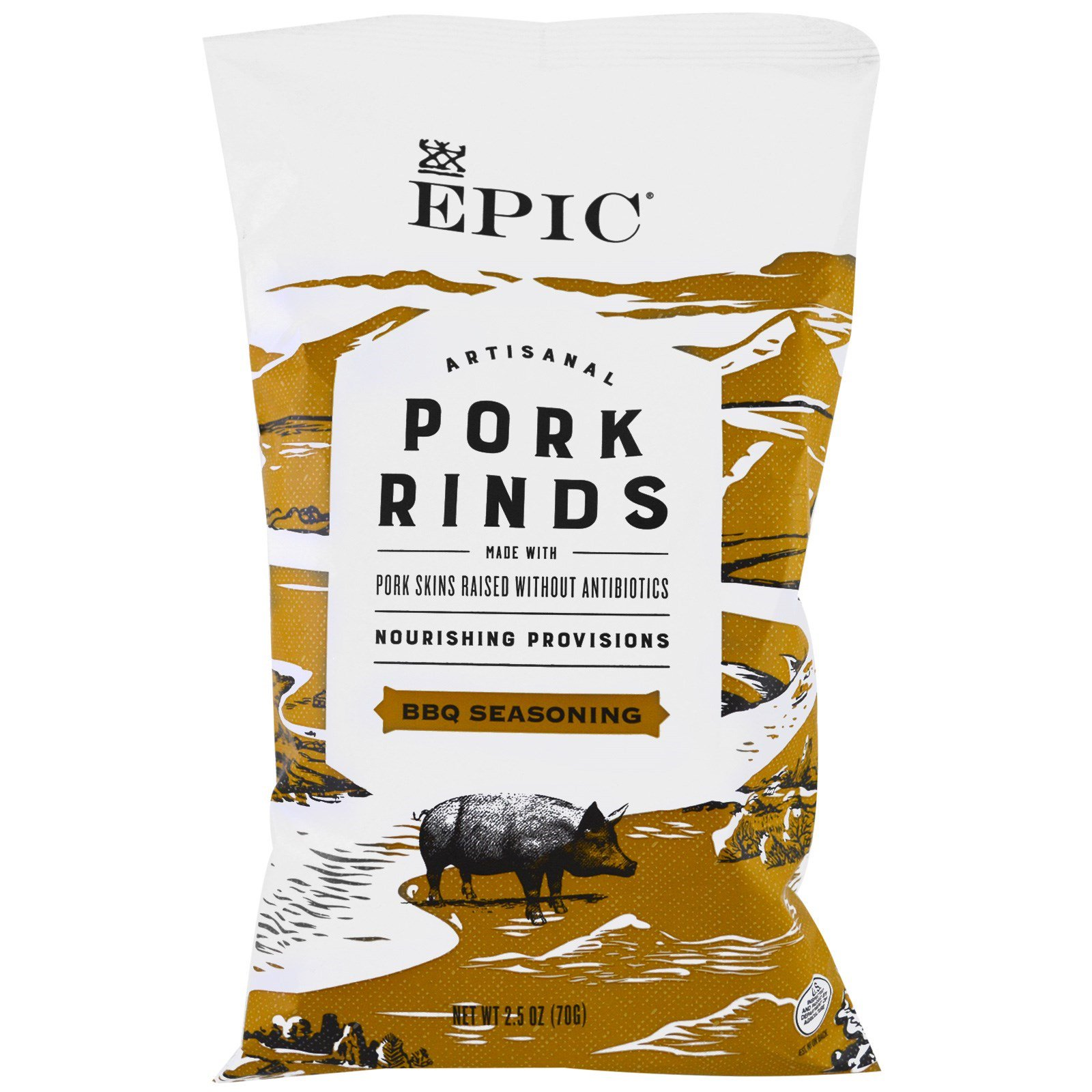 Epic Bar, Artisanal Pork Rinds, BBQ Seasoning, 2.5 oz (pa...
