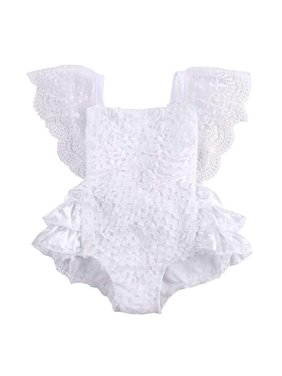 e4c8177c473 Product Image Baby Girl Lace Flower Fly Sleeve Romper Bodysuit Sweet  Sunsuit Clothes