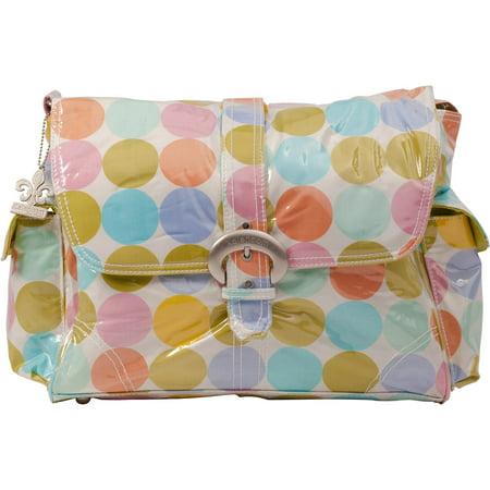 Kalencom Messenger Buckle Diaper Bag, Disco Dots, Cream
