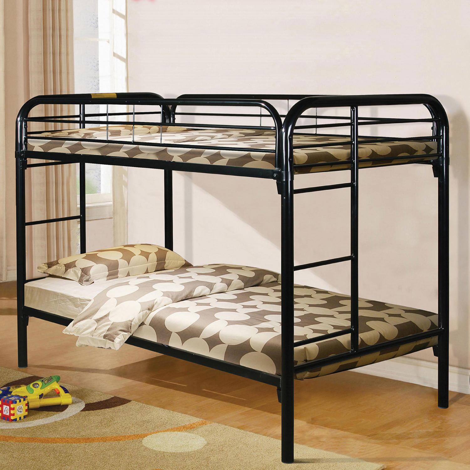 Home Source Black Twin Bunk Bed with Attached Ladders