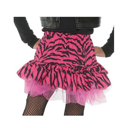 80s Zebra Girls Child Pink Diva Dance Rocker Costume Skirt