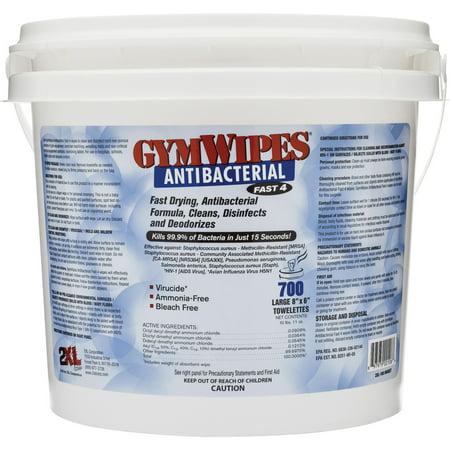 2XL, TXLL100, GymWipes Dispensing Antibacterial Towelettes, 1 Each, - White Dispensing