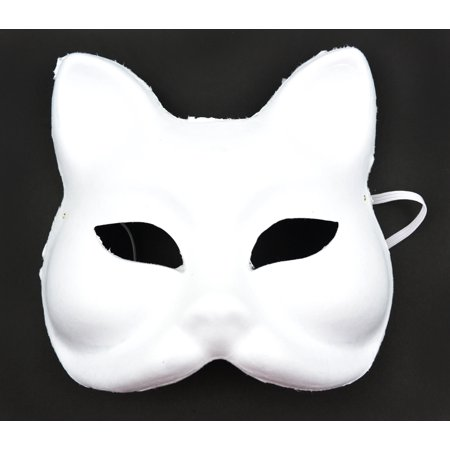 Half White Mask (Pack of 3 White Half Cat Masks with Elastic Cord)