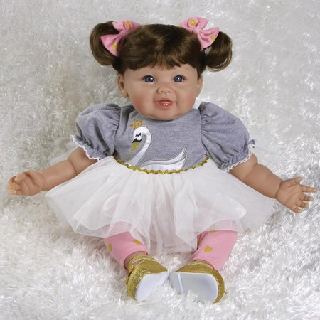 Doll Ensemble (Paradise Galleries Ballerina Doll Sweet Swan, 20 inch Reborn Toddler in GentleTouch Vinyl & Weighted Body, 5-Piece Doll Ensemble )