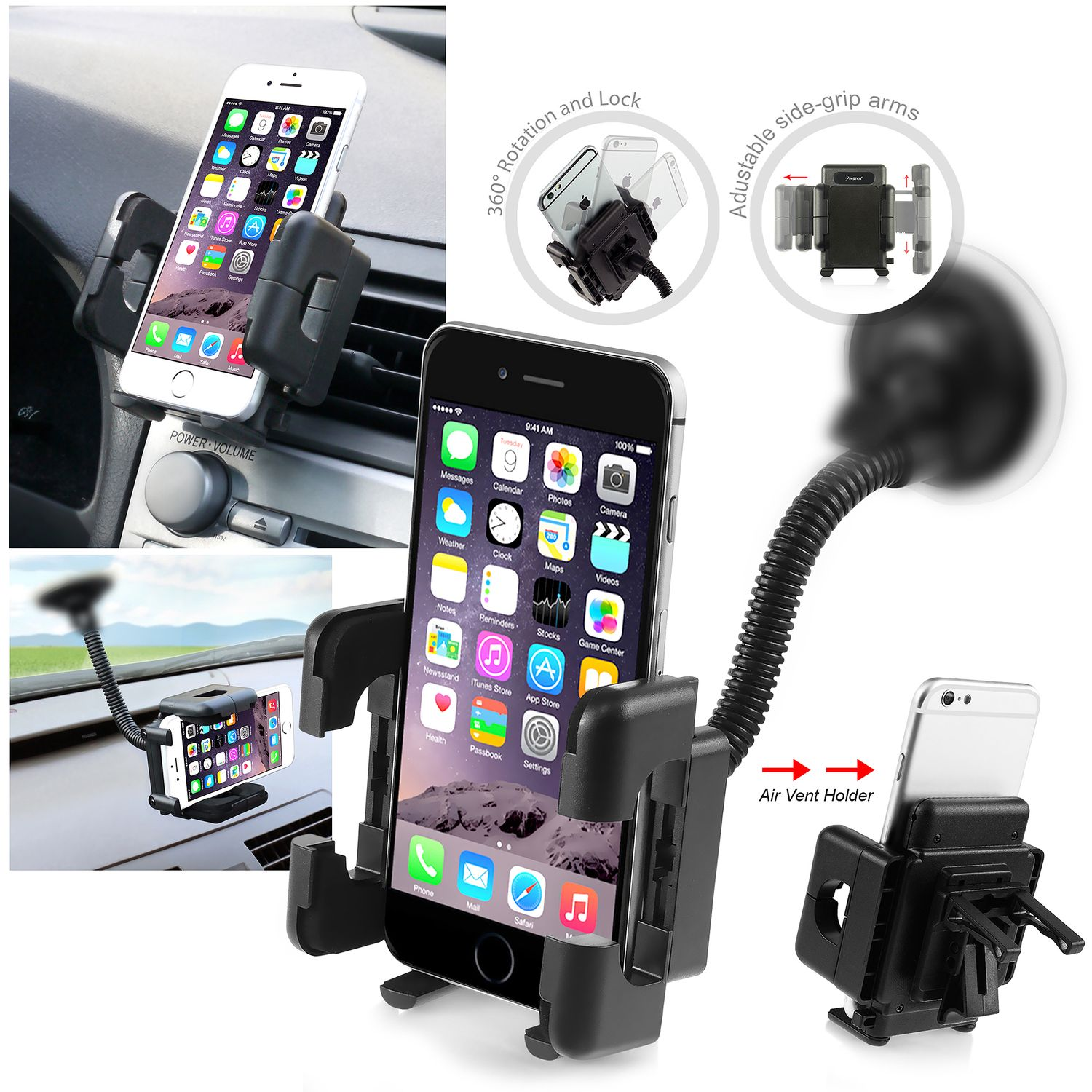 2 pcs Car Windshield Car Mount Cell Phone Holder by Insten For iPhone XS X 10 8 7 Plus 6 6S 5c Samsung Galaxy S9 S8 S7 S6 S5 Note 8 5 J7 J1 LG G6 Stylo 3 Stylus K8v ZTE Zmax Pro Max  (2-Pack Bundle)