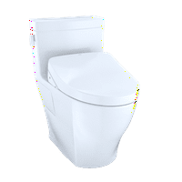 TOTO WASHLET+ Kit Legato One-Piece Elongated 1.28 GPF Toilet and Contemporary WASHLET S550e Bidet Seat, Cotton White - MW6243056CEFG#01