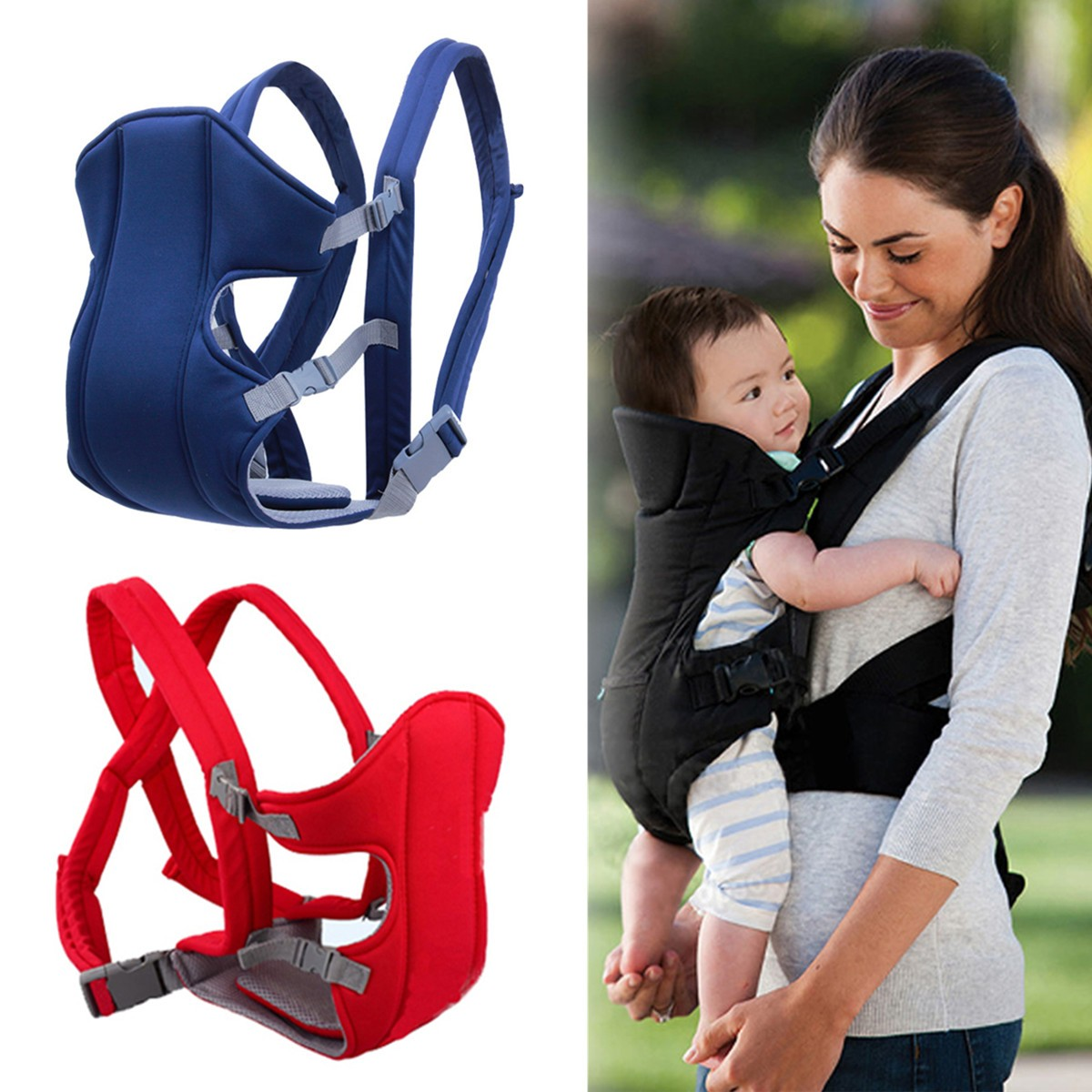 Jeteven Breathable Soft Infant Newborn Baby Carrier Backpack Front Back Rider Sling Comfort Wrap Bag,Rd color
