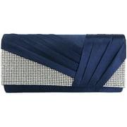 jubileens womens elegant pleated satin crystal fashion clutch evening bag purse (navy blue)
