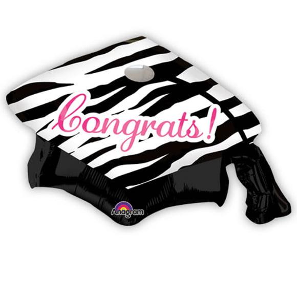 "Anagram Congrat Princess Grad Cap Zebra Print 32"" Foil Balloon, Black White Pink"