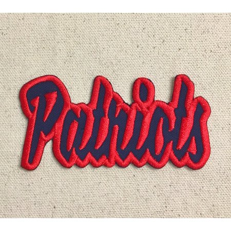 Patriots - Navy Blue/Red - Team Mascot - Words/Names - Iron on Applique/Embroidered