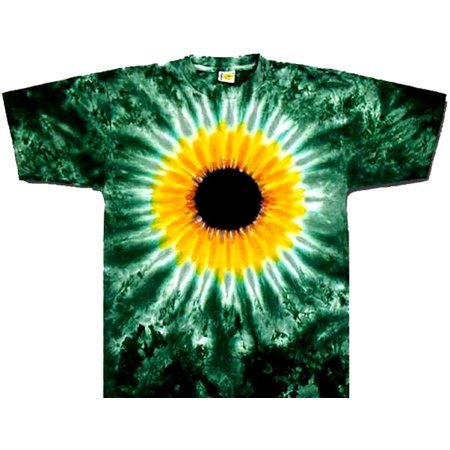 Tie Dyed Shop Sunflower on Green Tie Dye T Shirt Short Sleeve Small