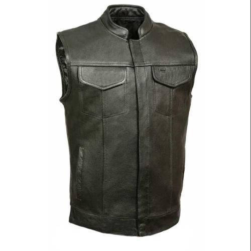 Leather King Men's Open Neck Vest With Hidden Snaps, Black  - X-Large SH2036