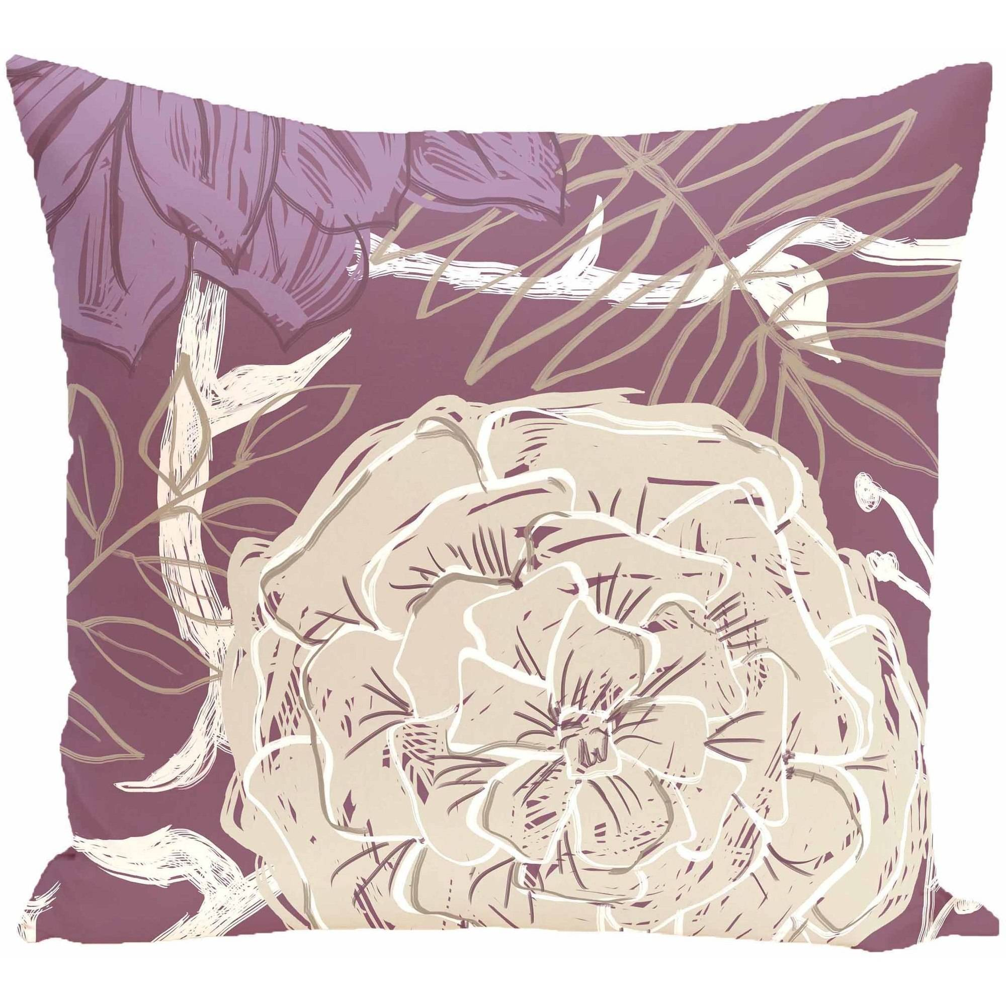 "Simply Daisy 16"" x 16"" Flowers and Fronds Floral Print Pillow"