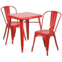 "Flash Furniture 23.75"" Square Metal Indoor-Outdoor Table Set with 2 Stack Chairs, Multiple Colors"