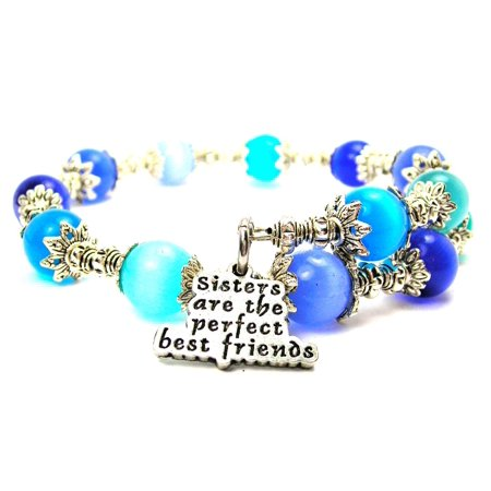 Chubby Chico Charms Sisters Are The Perfect Best Friends Cat's Eye Wrap Charm Bracelet in Sapphire Blue and Aqua Blue