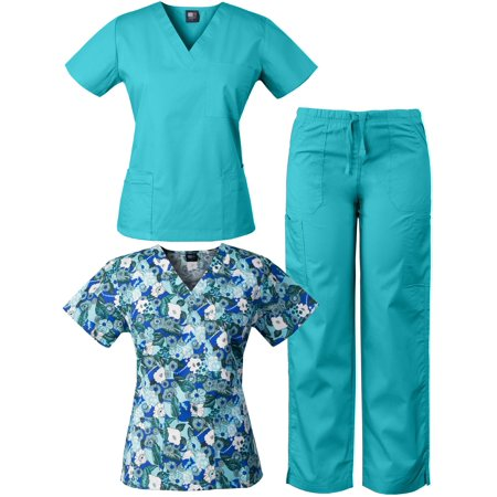 a4f211c6728 Medgear - MedGear 3-Piece Combo, Eversoft Scrubs Set with Printed ...