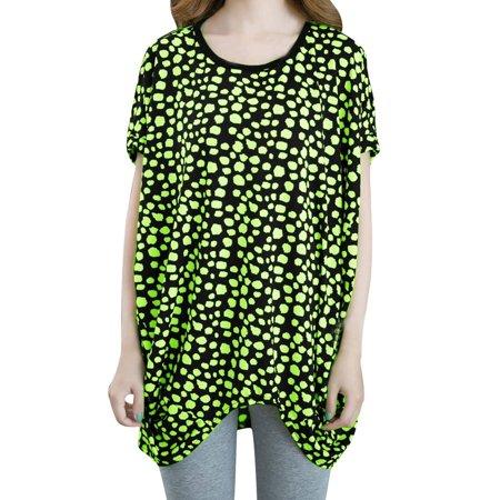 Unique Bargains Women Stretchy Dots Prints Round Neck Elegant Shirt Lime