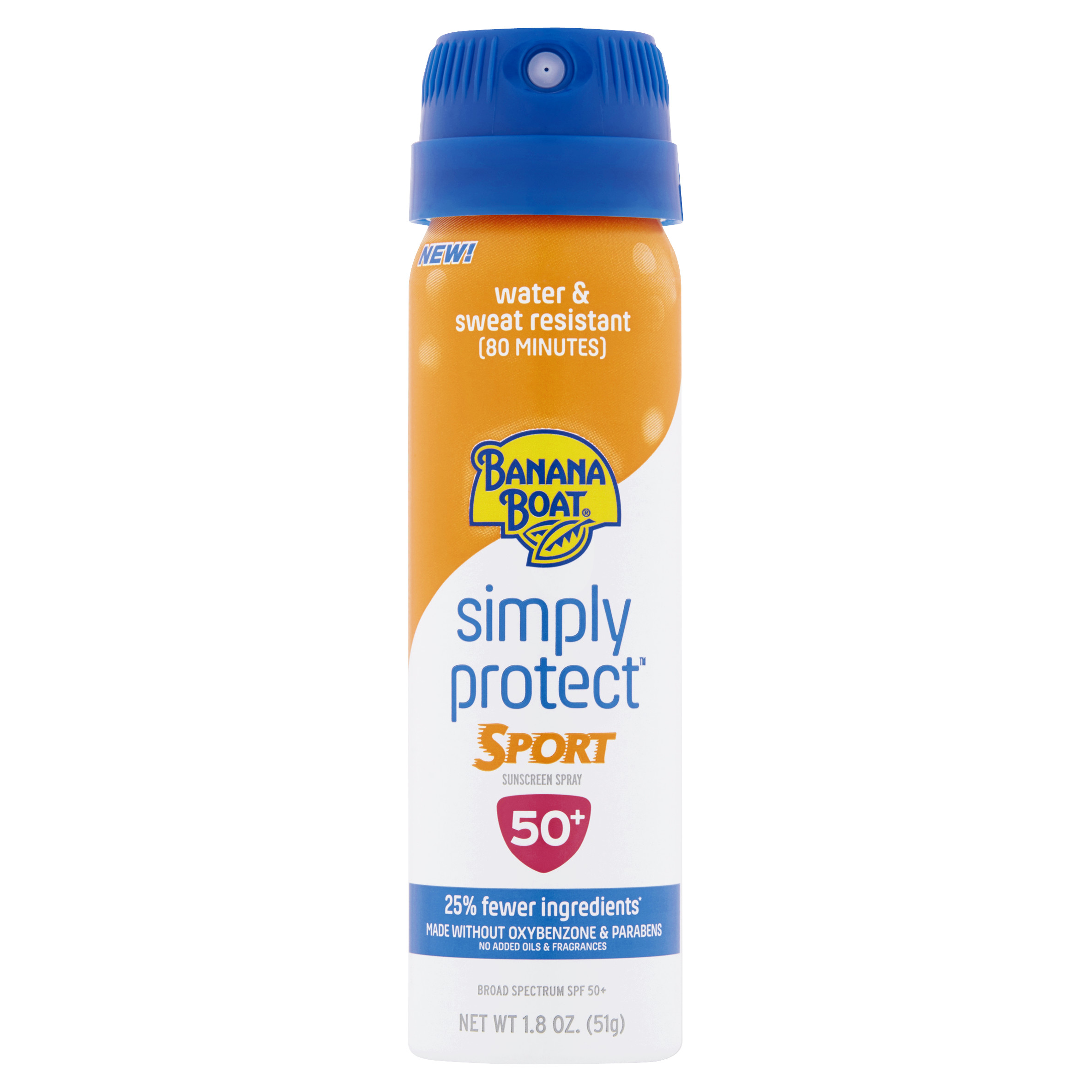 (2 Pack) Banana Boat Simply Protect Sport Broad Spectrum Sunscreen Spray with SPF 50, 1.8 Ounce
