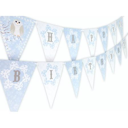 Snowy Owl Blue Happy Birthday Banner - Owl First Birthday