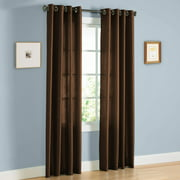 "2 PANEL MIRA  SOLID BROWN COFFEE SEMI SHEER WINDOW FAUX SILK ANTIQUE BRONZE GROMMETS CURTAIN DRAPES 55 WIDE X 84"" LENGTH"