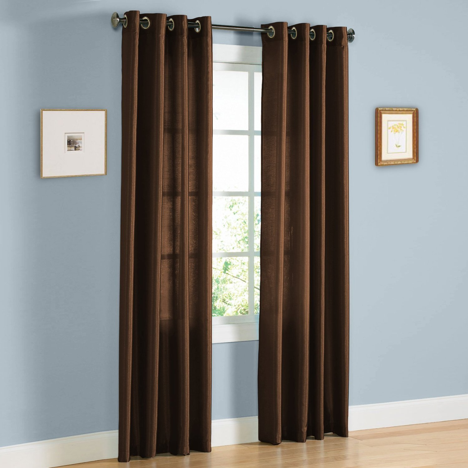 "1 PANEL MIRA  SOLID BROWN COFFEE SEMI SHEER WINDOW FAUX SILK ANTIQUE BRONZE GROMMETS CURTAIN DRAPES 55 WIDE X 63"" LENGTH"