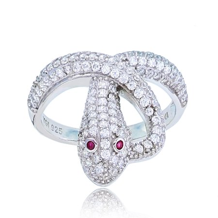 Sterling Silver Rhodium Rnd White & #8 Ruby CZ Pave Snake Ring Pave Snake Ring