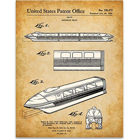 Disney Monorail Patent Print - 11x14 Unframed Patent Print - Great Gift for Disney Fans](Disney Personalized Gifts)