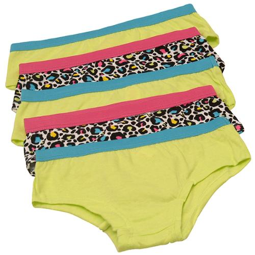 1000% Cute Little Girls Neon Green Cheetah 5 Pc Panty Set S 4/6 - L 10/12