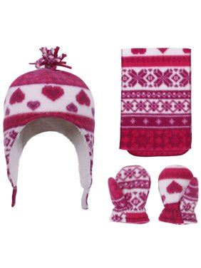 SimpliKids Patterned Sherpa Lined Hat, Scarf Glove Set, Star Print, 6-24 Month