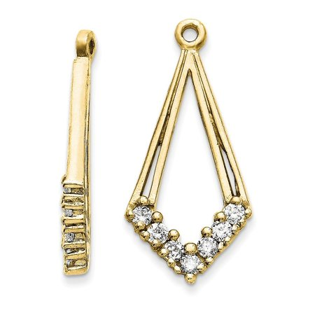 Solid 14k Yellow Gold AA Diamond Earring Jacket (10mm x 22mm) (.28ct.) 14k Gold Diamond Earring Jackets