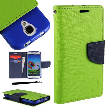 Cases Leather Zip ([World Acc] For Alcatel Zip Case PU Leather Flip Cover Folio Book Style Pouch Card Slot Wallet (Green/Navy)