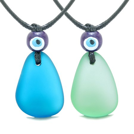 Free Form Unique Sea Glass Cobalt Blue Mint Green Love Couples BFF Set Protection Amulet Drop - Dark Blue Sea Glass