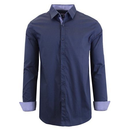 Men's Long Sleeve Slim-Fit Solid Dress Shirts
