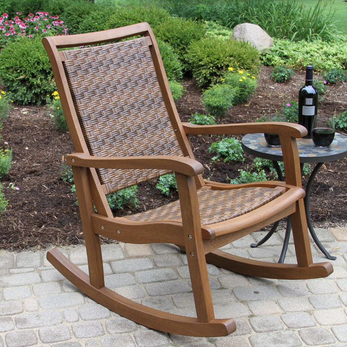 allweather woven wicker u0026 eucalyptus outdoor rocking chair