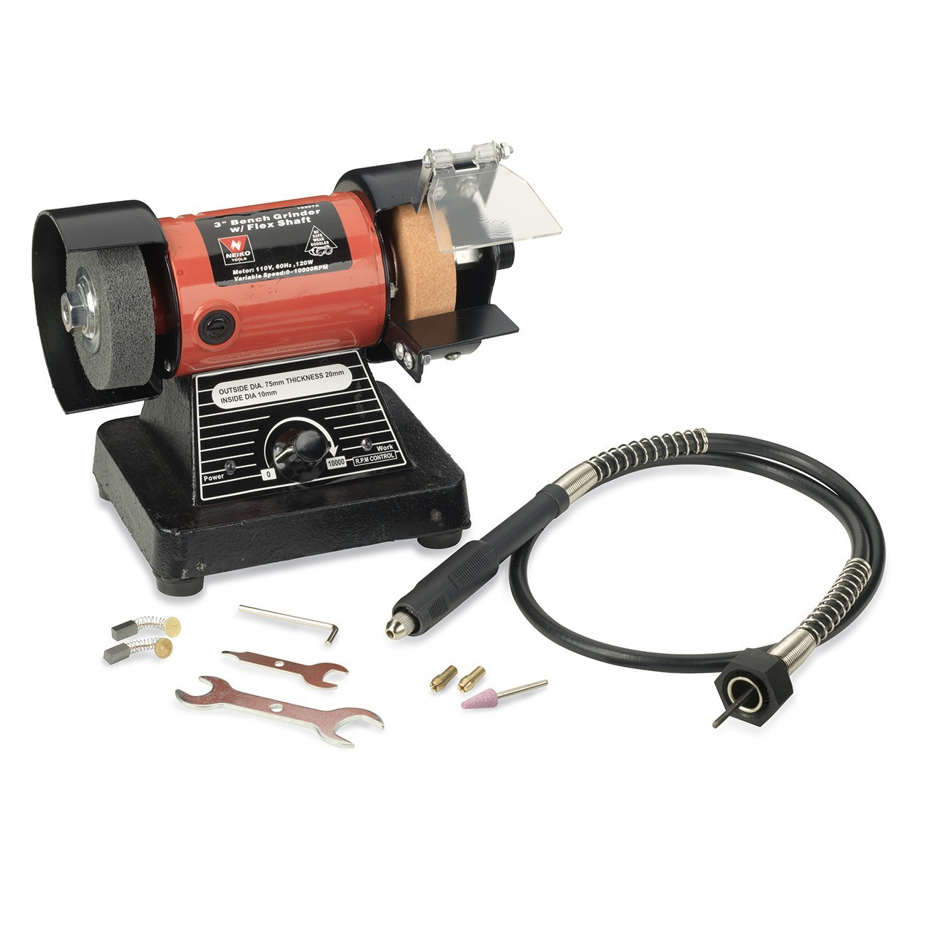 Neiko 10207A 3-Inch Mini Bench Grinder and Polisher with Flexible Shaft and Accessories | 120W | 0-10000 RPM