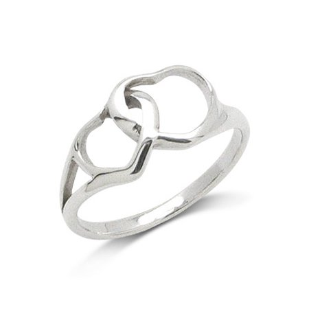 Interlocking Mom and Baby Heart Sterling Silver Love and Devotion Ring